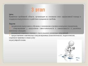 3 этап Цель: Выявление проблемной области, организация на основании этого эфф