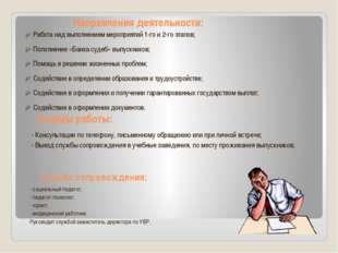 Направления деятельности: Работа над выполнением мероприятий 1-го и 2-го этап