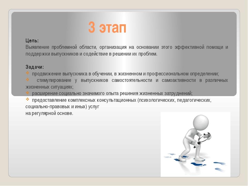 3 этап Цель: Выявление проблемной области, организация на основании этого эфф...