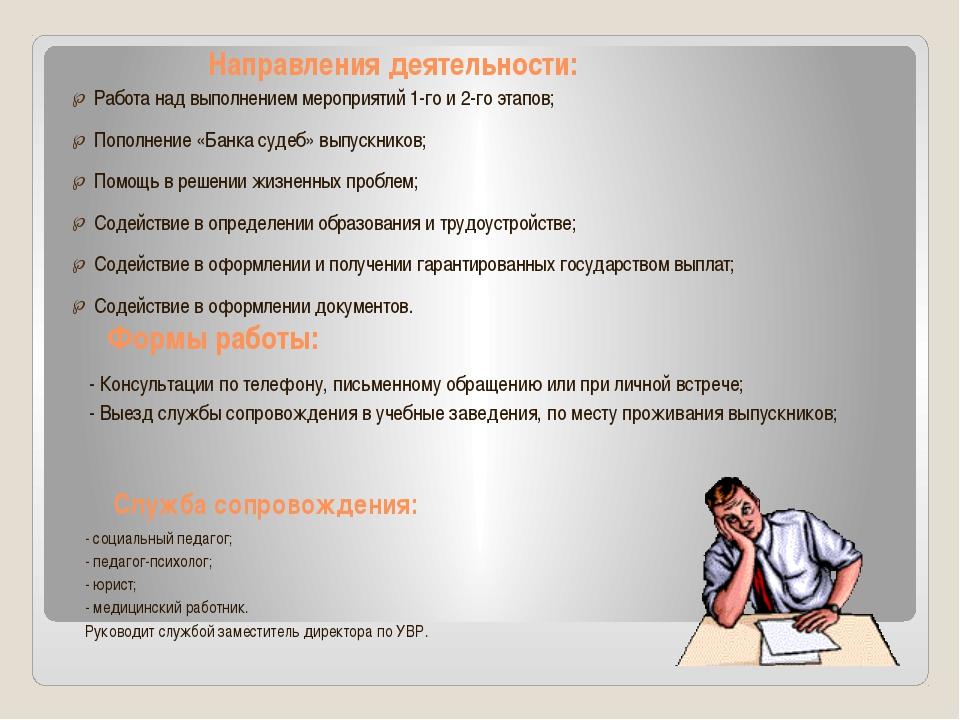 Направления деятельности: Работа над выполнением мероприятий 1-го и 2-го этап...