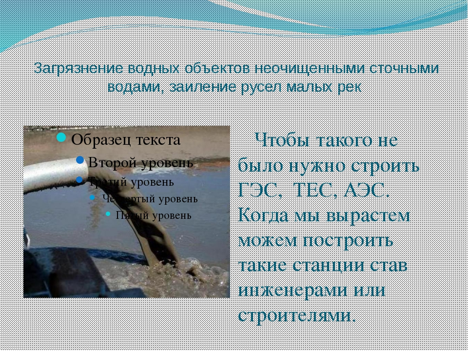 Загрязнение водных объектов неочищенными сточными водами, заиление русел мал...