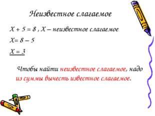 Неизвестное слагаемое Х + 5 = 8 , Х – неизвестное слагаемое Х= 8 – 5 Х = 3 Чт