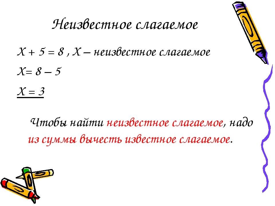 Неизвестное слагаемое Х + 5 = 8 , Х – неизвестное слагаемое Х= 8 – 5 Х = 3 Чт...