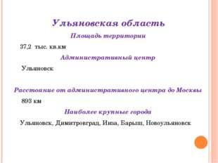 Ульяновская область Площадь территории 37,2 тыс. кв.км Административный центр