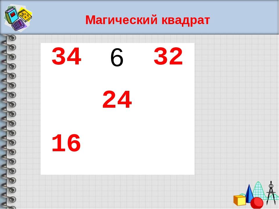 Магический квадрат 34632 24 16