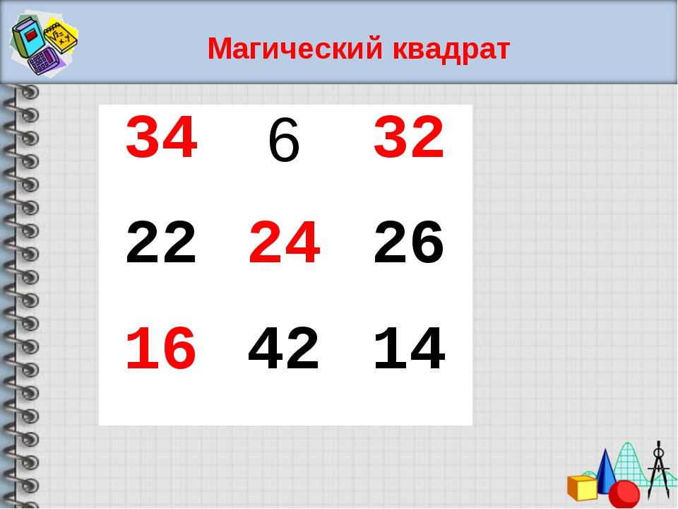 Магический квадрат 34632 222426 164214