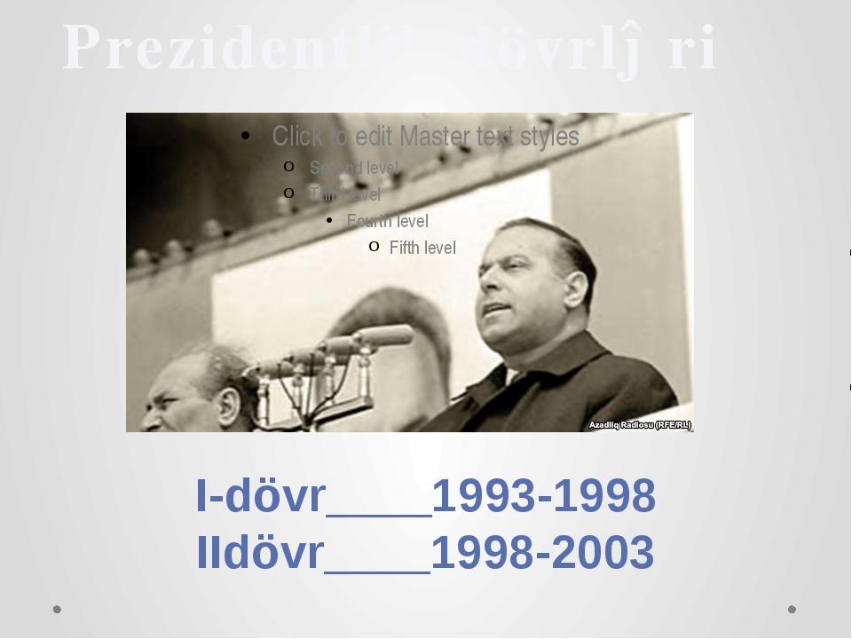 Prezidentlik dövrləri I-dövr____1993-1998 IIdövr____1998-2003