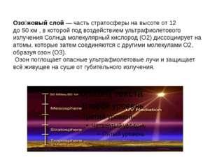 Озо́новый слой— частьстратосферы на высоте от 12 до50км, в которой под в