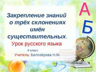 Закрепление знаний о трёх склонениях имён существительных. Урок русского язык