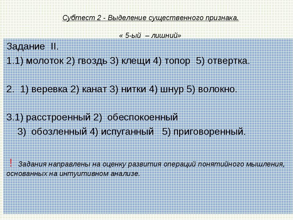 Субтест 2 - Выделение существенного признака. « 5-ый – лишний» Заданиe II. 1...