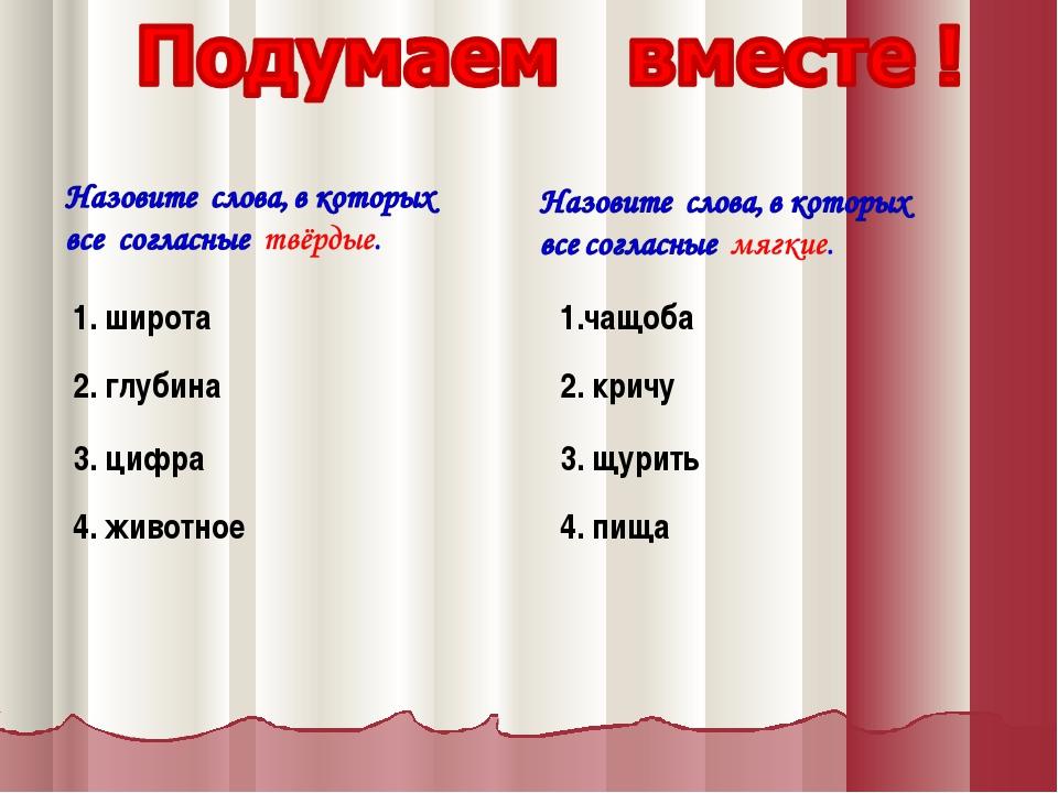 1. широта 2. глубина 3. цифра 4. животное 1.чащоба 2. кричу 3. щурить 4. пища