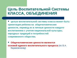 Цель Воспитательной Системы КЛАССА, ОБЪЕДИНЕНИЯ целью воспитательной системы