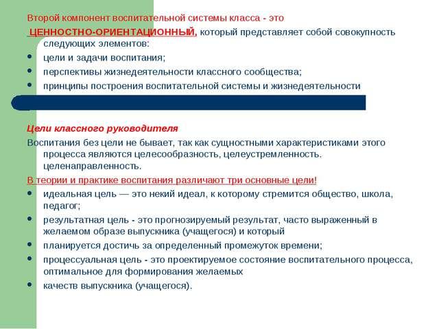 Второй компонент воспитательной системы класса - это ЦЕННОСТНО-ОРИЕНТАЦИОННЫЙ...