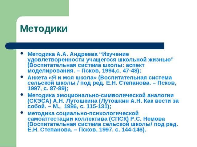 """Методики Методика А.А. Андреева """"Изучение удовлетворенности учащегося школьно..."""