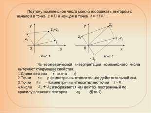 Из геометрической интерпретации комплексного числа вытекают следующие свойст