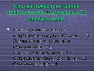 Их в карточке (постоянно пополняемой) 15 мужских и 74 женских имён: Полных м