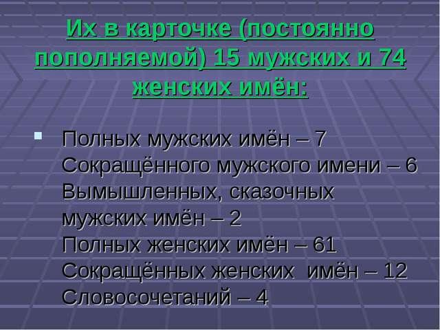 Их в карточке (постоянно пополняемой) 15 мужских и 74 женских имён: Полных м...