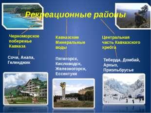 Рекреационные районы Черноморское побережье Кавказа Кавказские Минеральные во