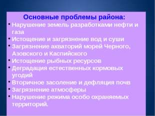 Основные проблемы района: Нарушение земель разработками нефти и газа Истощени