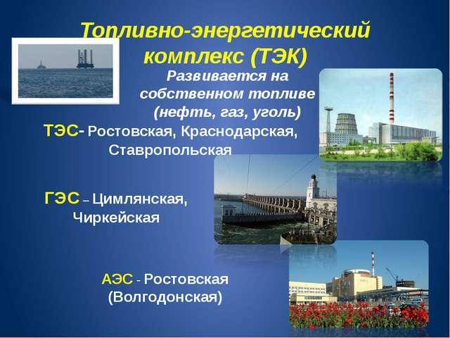 Топливно-энергетический комплекс (ТЭК) Развивается на собственном топливе (не...