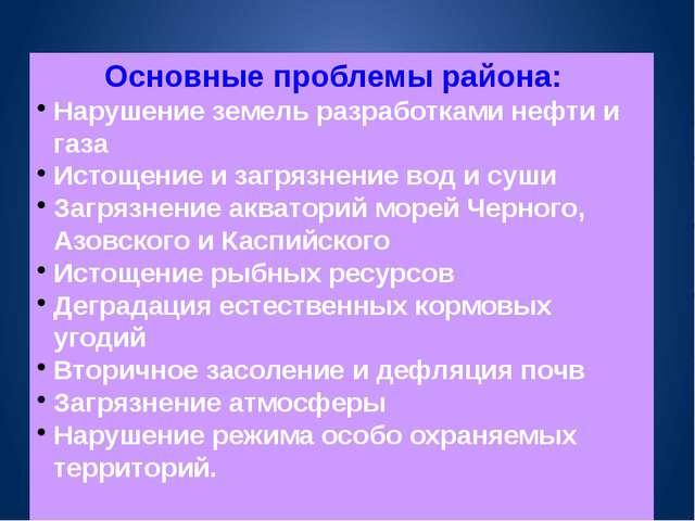 Основные проблемы района: Нарушение земель разработками нефти и газа Истощени...
