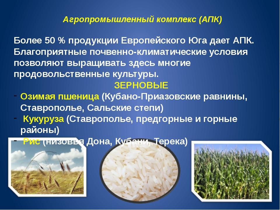 Агропромышленный комплекс (АПК) Более 50 % продукции Европейского Юга дает АП...