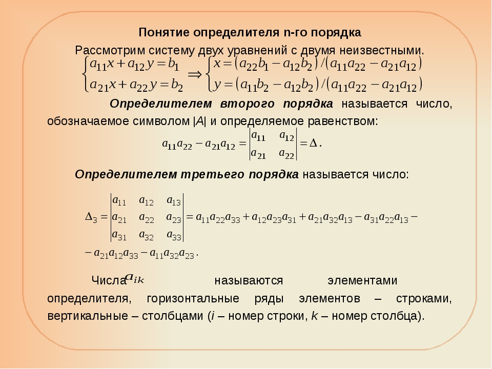 Понятие определителя n-го порядка Рассмотрим систему двух уравнений с двумя н...