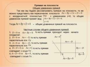Прямая на плоскости Общее уравнение прямой Так как мы будем рассматривать пря