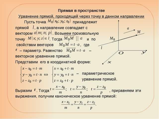 Прямая в пространстве Уравнение прямой, проходящей через точку в данном напра...