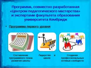 Программа, совместно разработанная «Центром педагогического мастерства» и экс