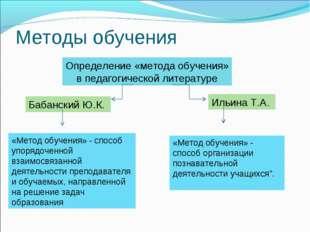 Методы обучения Определение «метода обучения» в педагогической литературе Баб