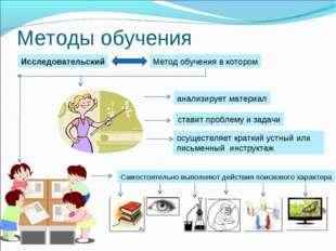 Методы обучения Исследовательский Метод обучения в котором анализирует матери