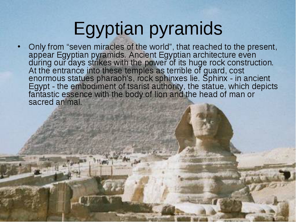 "Egyptian pyramids Only from ""seven miracles of the world"", that reached to th..."