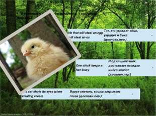 Не имеющие русского эквивалента: 6 пословиц Примеры: Неthat will steal an egg