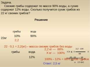 Решение 90% 10% 22кг 22 ∙ 0,1 = (кг) 2,2 – масса свежих грибов без воды Задач