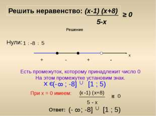 Решить неравенство: (х-1) (х+8) 5-х ≥ 0 Решение Нули: 1 ; -8 ; 5 х Есть проме