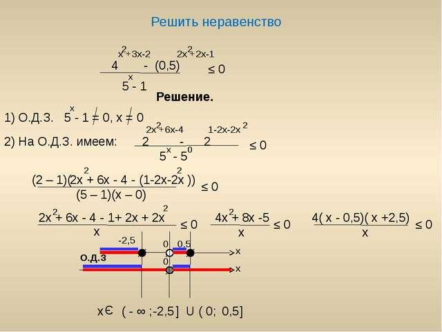 Решить неравенство - (0,5) x +3x-2 2 2x +2x-1 2 x ≤ 0 Решение. 1) О.Д.З. 5 -...