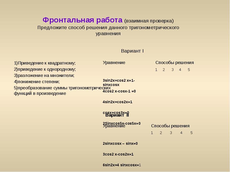 Фронтальная работа (взаимная проверка) Предложите способ решения данного триг...