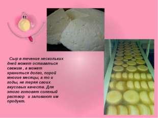 Сыр в течение нескольких дней может оставаться свежим , а может храниться до