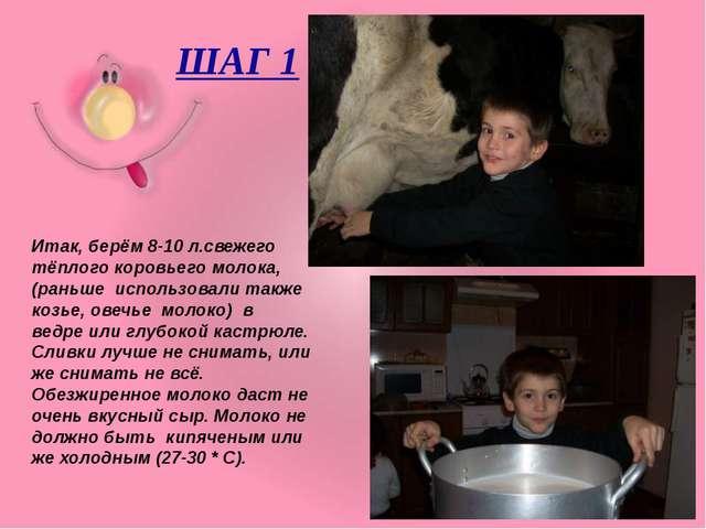ШАГ 1 Итак, берём 8-10 л.свежего тёплого коровьего молока,(раньше использова...