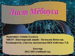 Выполнил: ученик 6 класса МКОУ «Богучарский лицей» Полежаев Вячеслав. Руково