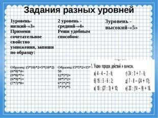 Задания разных уровней 1уровень-низкий-«3» Примени сочетательное свойство умн