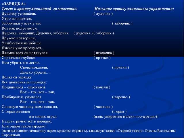 «ЗАРЯДКА» Текст к артикуляционной гимнастике: Название артикуляционного упра...