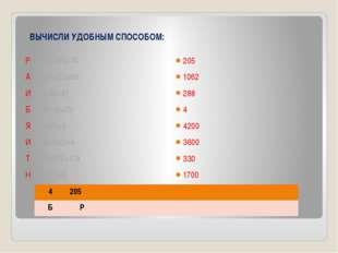 ВЫЧИСЛИ УДОБНЫМ СПОСОБОМ: Р (184+95)-74 А 762+215+85 И 6х(40+8) Б 500:(5х25)