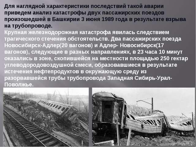 Для наглядной характеристики последствий такой аварии приведем анализ катастр...