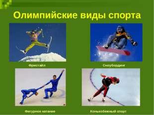 Олимпийские виды спорта Фристайл Сноубординг Фигурное катание Конькобежный сп