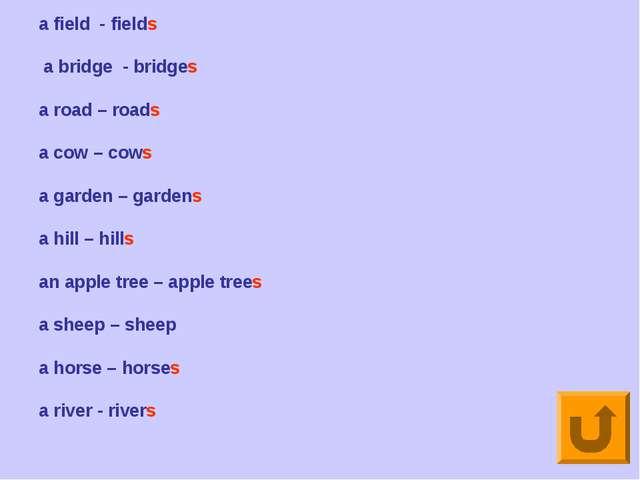 a field - fields a bridge - bridges a road – roads a cow – cows a garden – ga...