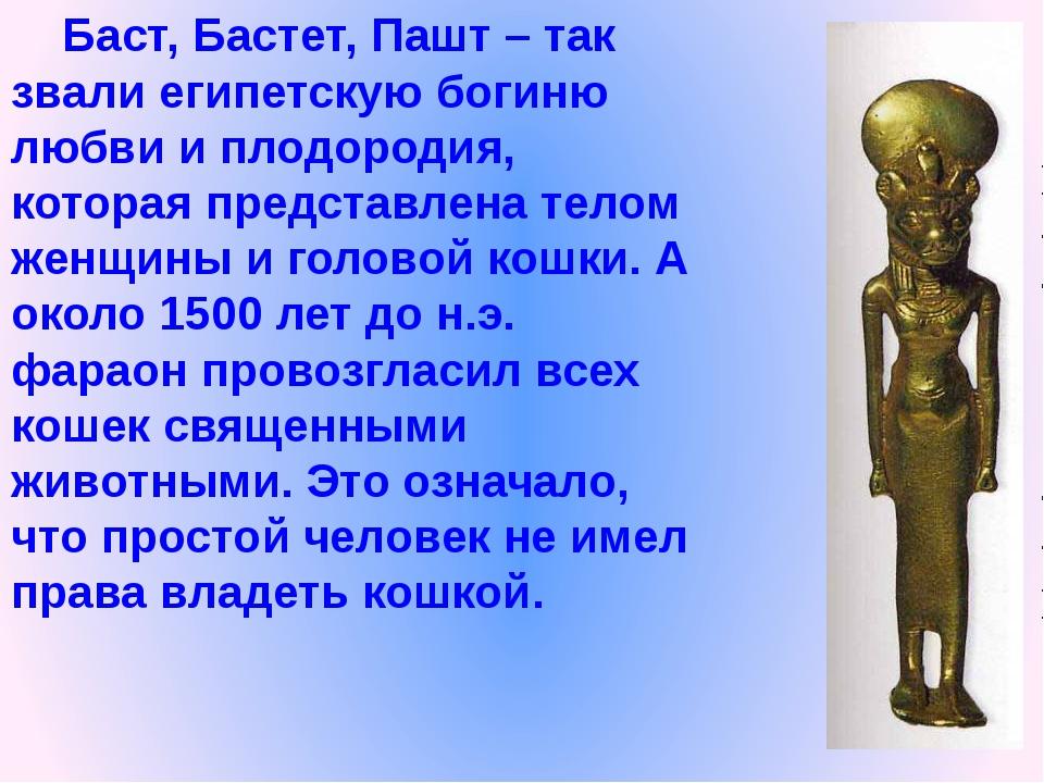 Баст, Бастет, Пашт – так звали египетскую богиню любви и плодородия, которая...