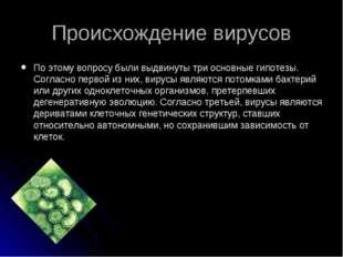 Происхождение вирусов По этому вопросу были выдвинуты три основные гипотезы.