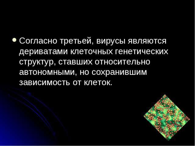 Согласно третьей, вирусы являются дериватами клеточных генетических структур,...